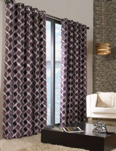 STYLISH TRENDY RINGTOP EYELET LINED CIRCLE PATTERN CURTAINS AUBERGINE & PURPLE COLOUR